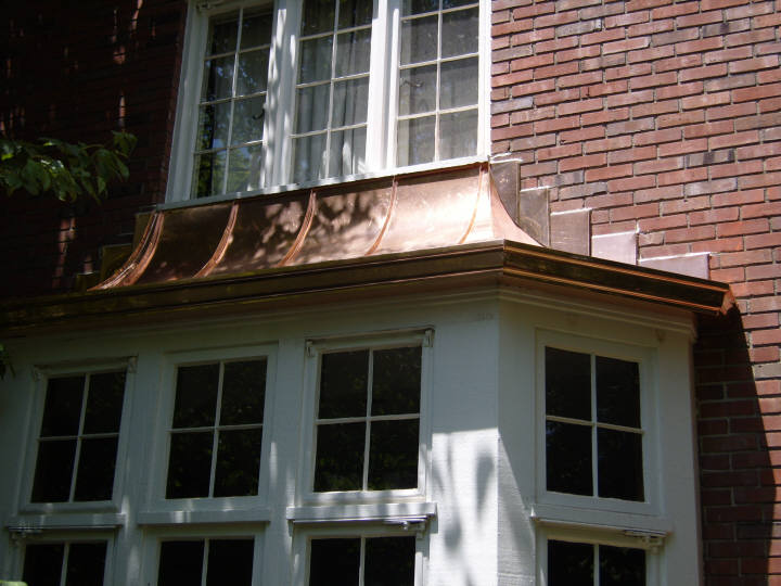 Custom copper standing seam bay window hood roof with stepped copper counter flashing and   & Custom Copper Hoods Bay Window Hood Copper Standing Seam Roofs memphite.com
