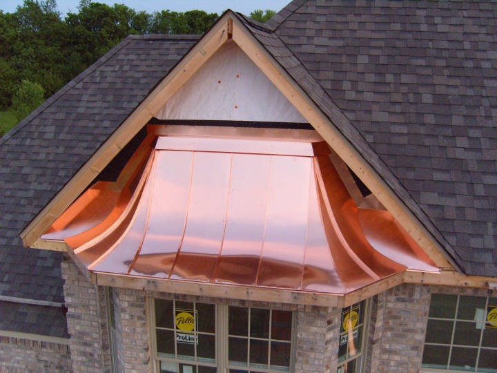 Custom Copper Roof Bay Window Hood